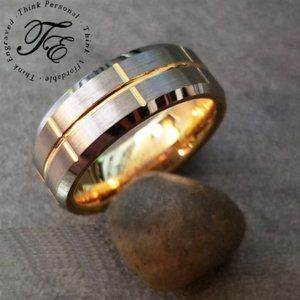 Mens Tungsten Brushed Steel & Gold Wedding Band